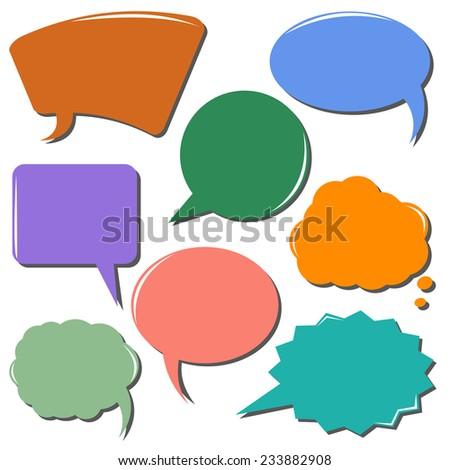 colorful communication bubbles set isolated on white background. vector illustration