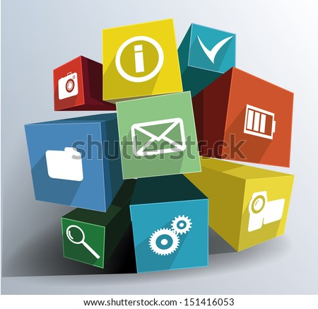 Colorful composition of cubes with icons