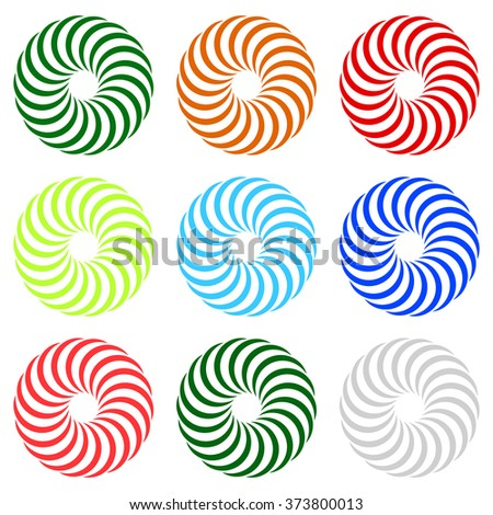 Colorful concentric, radial, radiating spiral, twirl elements with curved lines
