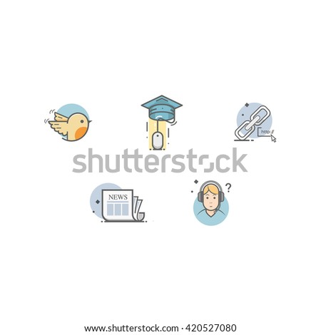 Colorful concept icons set for personal or company portfolio. - stock vector