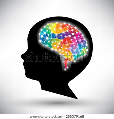 colorful concept of the human brain vector background