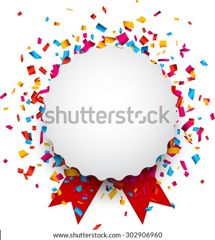 Colorful confetti celebration background. Paper round speech bubble with red ribbons. Vector Illustration. - stock vector