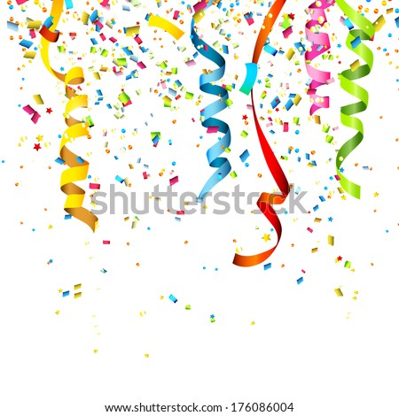Colorful confetti isolated on white background