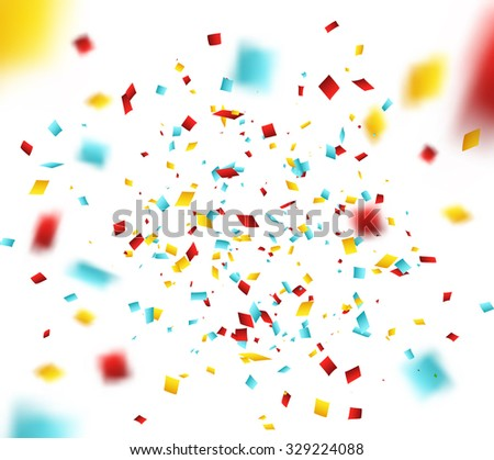 Colorful Confetti on White background. Christmas, Birthday, Anniversary Party Concept. Vector Illustration. - stock vector