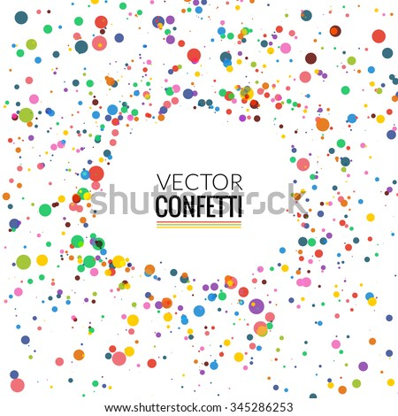 Colorful Confetti on White background. Christmas, Birthday, Anniversary Party Concept. Vector Illustration.
