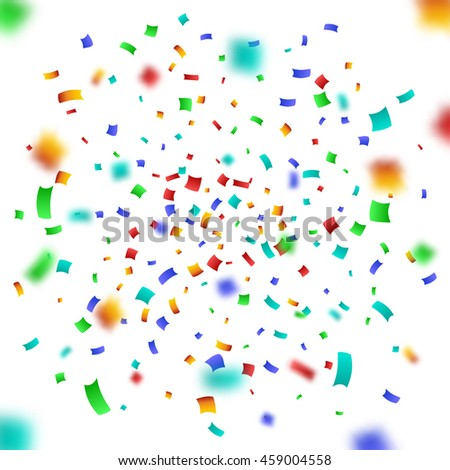 Colorful Confetti on White background. Christmas Birthday Anniversary Party Concept. Vector Illustration.