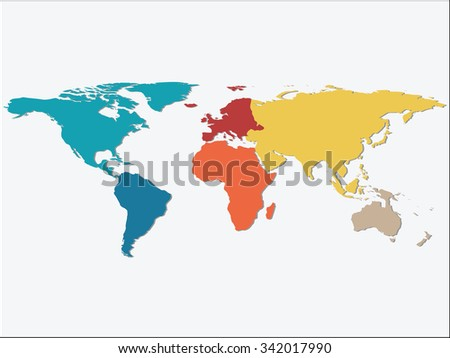 Colorful Continents World Map, Credit world map of Nasa - stock vector