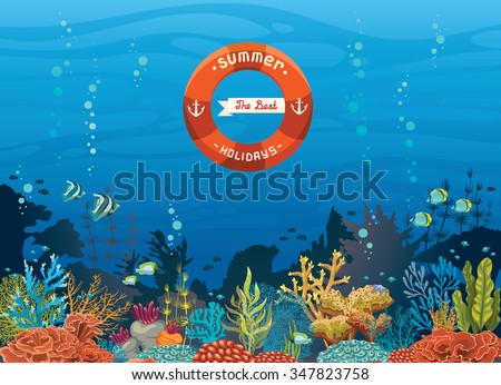 Colorful coral reef with fish on a blue sea background - The best summer holiday. Underwater tropical vector illustration. - stock vector