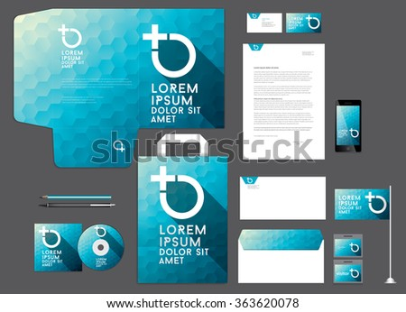 Colorful corporate identity template. Low poly design.Vector illustration. - stock vector