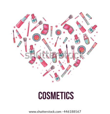 Colorful cosmetic items banner isolated on white background in shape of heart. Top view. Make-up illustration.