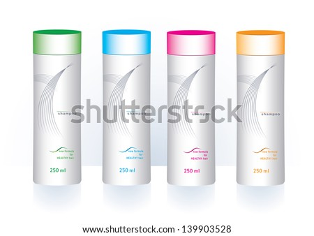 Colorful cosmetics  bottles with sample labels for shower gel or shampoo - stock vector