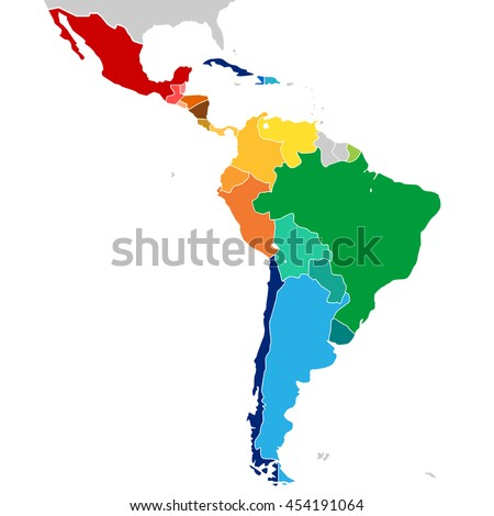 Colorful Countries of Latin America. Simplified vector map with all countries in different colors.. - stock vector