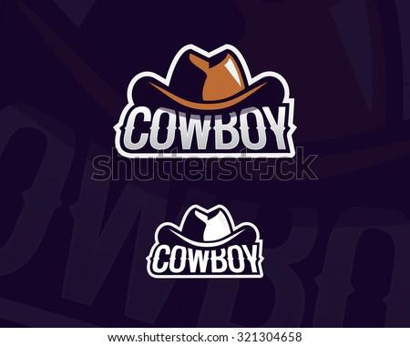 Colorful cowboy hat emblem, label, badge, logo on dark background. Wild West theme. Vector isolated illustration - stock vector