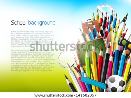 Colorful crayons with school supplies - vector background with copyspace