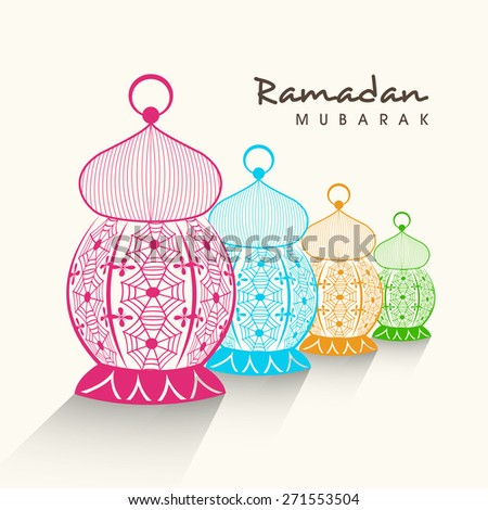 Colorful creative arabic lamps or lanterns on white background for holy month of muslim community, Ramadan Kareem celebration. - stock vector