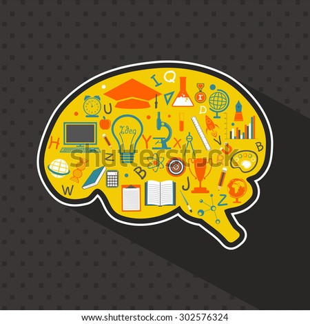 Colorful creative educational elements on brain shape for Back to School concept. - stock vector
