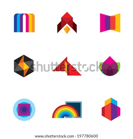 Colorful creativity inspiration design for professional company vector logo icons - Stock Illustration - stock vector