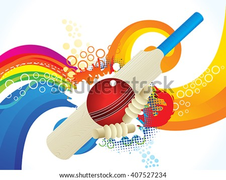 colorful cricket background vector illustration - stock vector