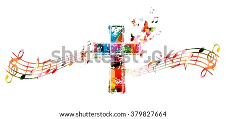 Colorful cross with music notes - stock vector
