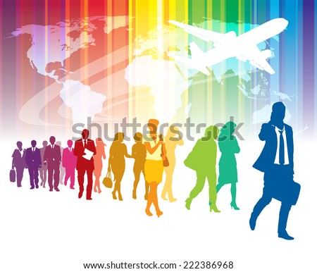 Colorful crowd of walking people, flying airplane and world map in the background.