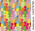 Colorful crowd, seamless background - stock