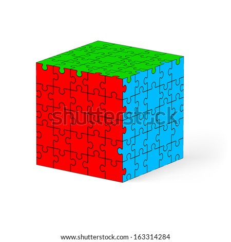 Colorful cube made of puzzle elements. Illustration on white background.   - stock vector