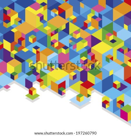 colorful cubes - stock vector