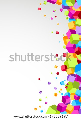 Colorful cubes aside - festive background. Vector illustration