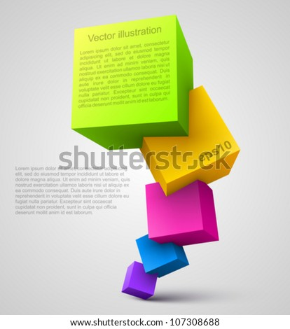 Colorful cubes 3D. - stock vector
