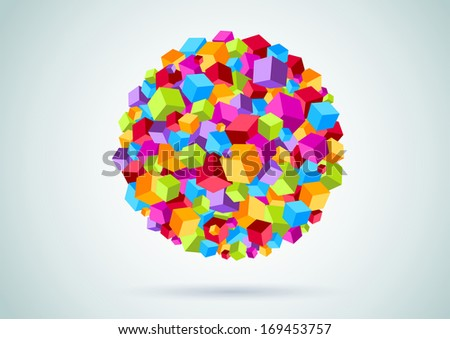 Colorful cubes form a circle. Vector illustration
