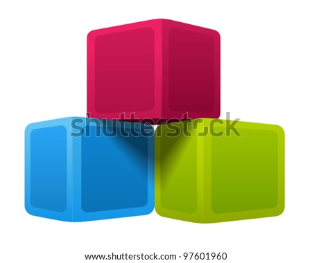 Colorful cubes. Vector illustration on white background - stock vector