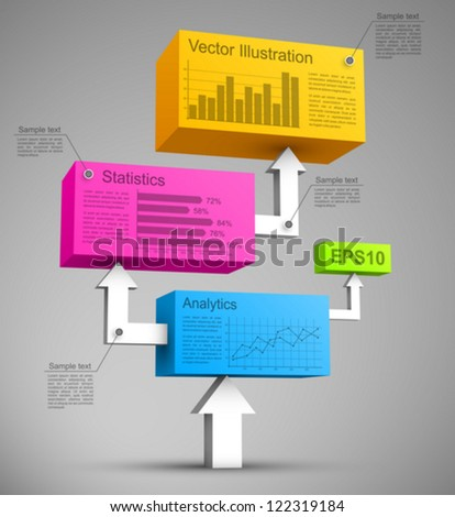 Colorful cubes with arrows 3D. - stock vector