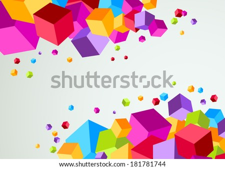 Colorful cubic bright background. Vector illustration - stock vector