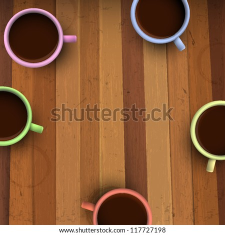 Colorful cups of coffee on wooden table. Vector illustration - stock vector