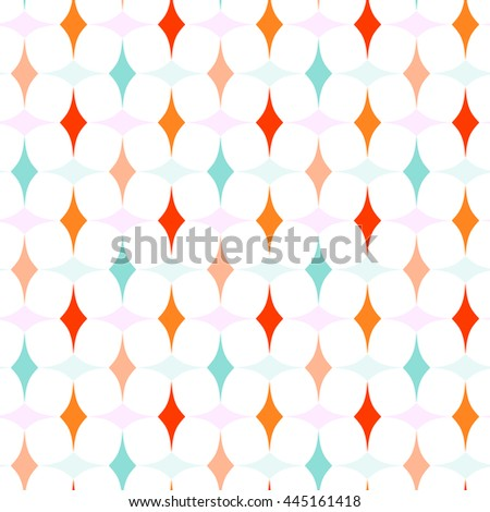Colorful Curved Diamonds Pattern - stock vector