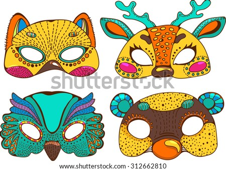 Colorful  cute animal masks. Stylish graphic design for children, colorful doodle illustration, Vector