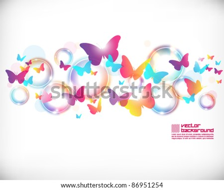 colorful cute butterfly vector background design - stock vector