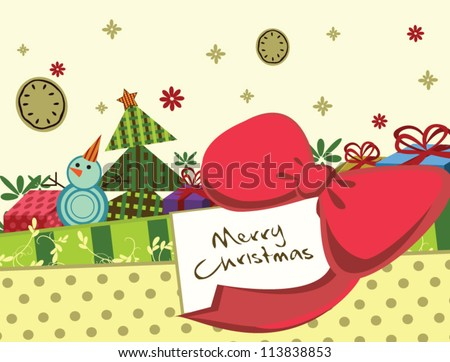 "colorful cute Christmas greeting graphic vector with ribbon, gifts, snowman and ""Merry Christmas"" words"