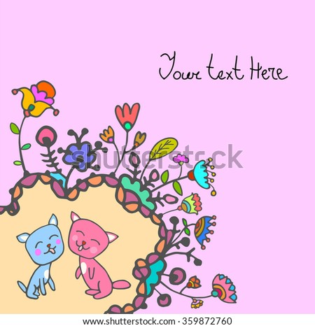 Colorful cute doodle floral background with cats and with empty space for text. For  card, invitation, template