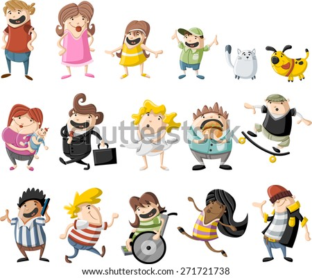 Colorful cute happy cartoon people - stock vector