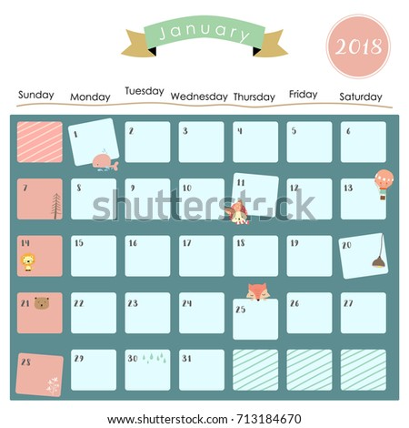 january 2018 calendar clipart
