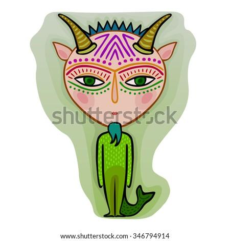 colorful cute original zodiac sign - capricorn - stock vector