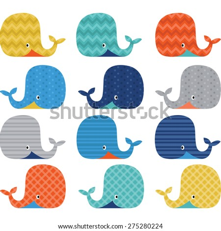 Colorful  Cute Whale Collections - stock vector