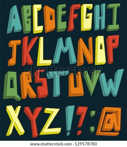 Colorful 3d alphabet set - stock vector