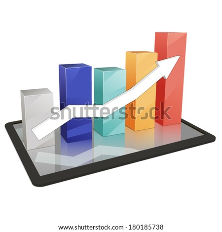Colorful 3D background statistics template growth chart vector - stock vector