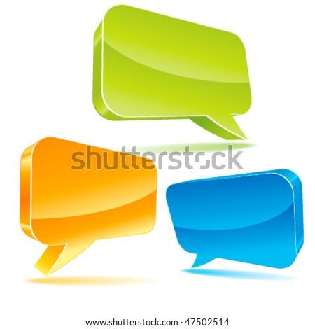 Colorful 3d bubble speech - stock vector