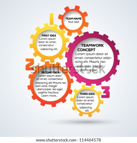 Colorful 3d gears teamwork template. Vector illustration. - stock vector