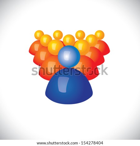 colorful 3d icons or signs of community members & leader - vector graphic. This illustration also represents sports captain & players, winner & losers, political leader & followers, manager, army - stock vector