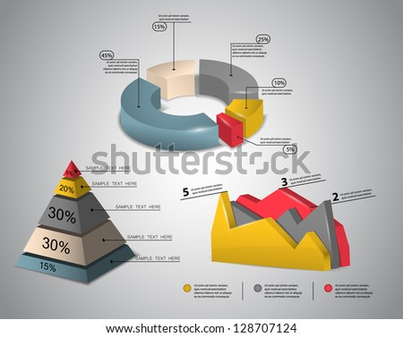 colorful 3d infographics - stock vector