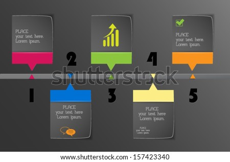Colorful 3d paper design timeline. Can be used for infographics. Numbered banners. Vector eps10.  - stock vector